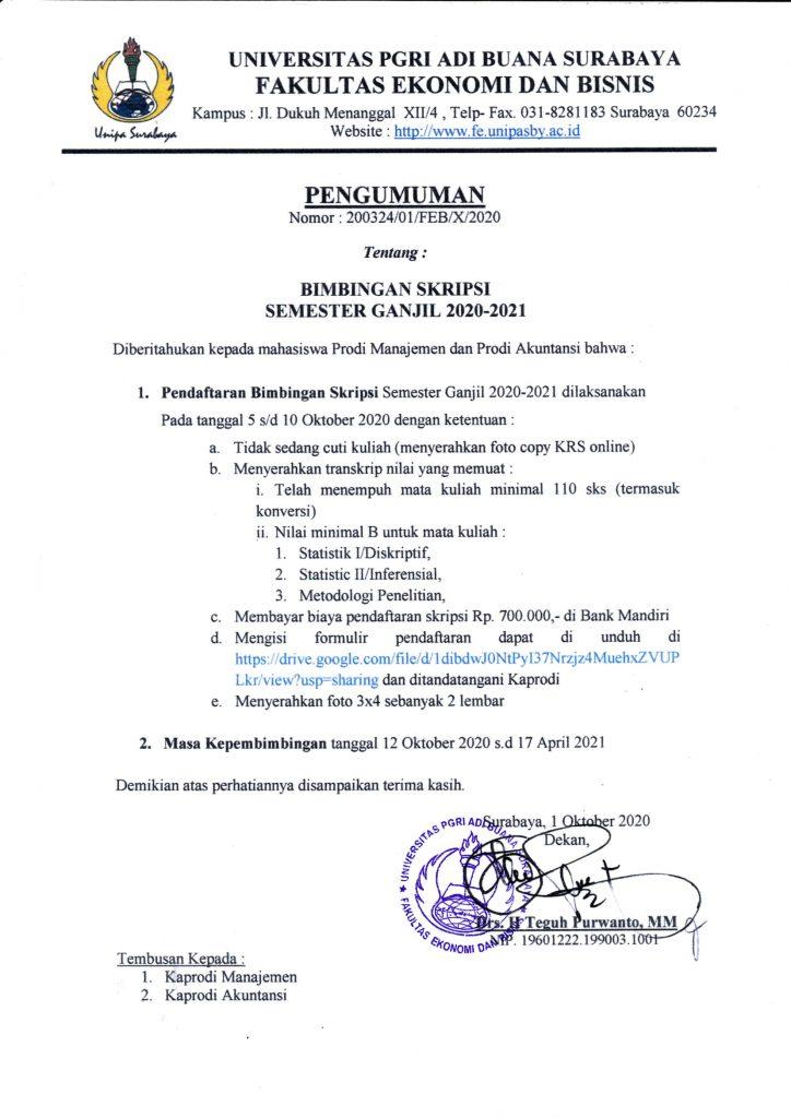 PENGUMUMAN BIMBINGAN SKRIPSI SEMESTER GANJIL 2020-2021 ...